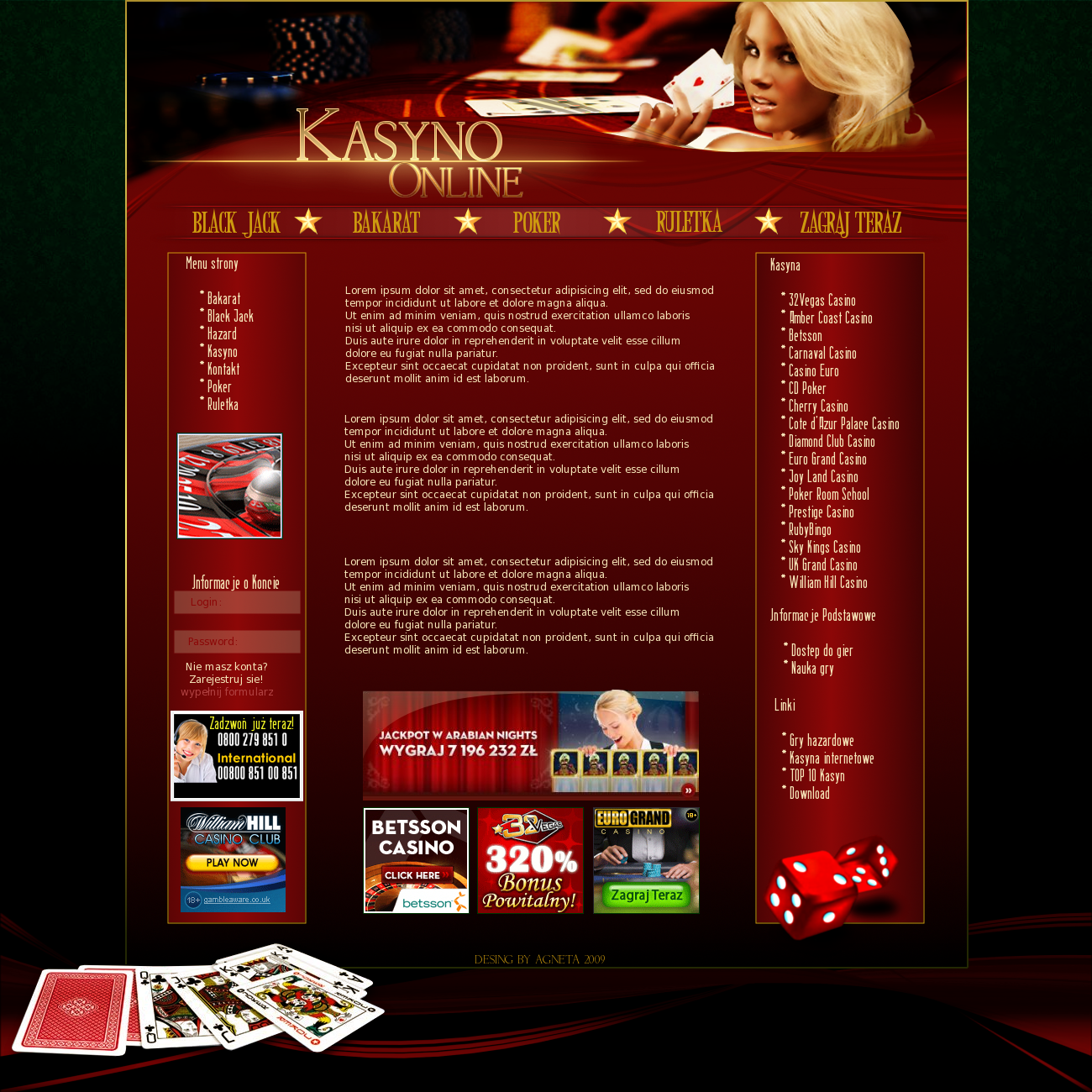 Kasyno Online layout