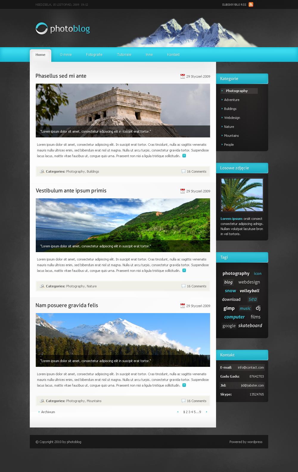 Photoblog layout