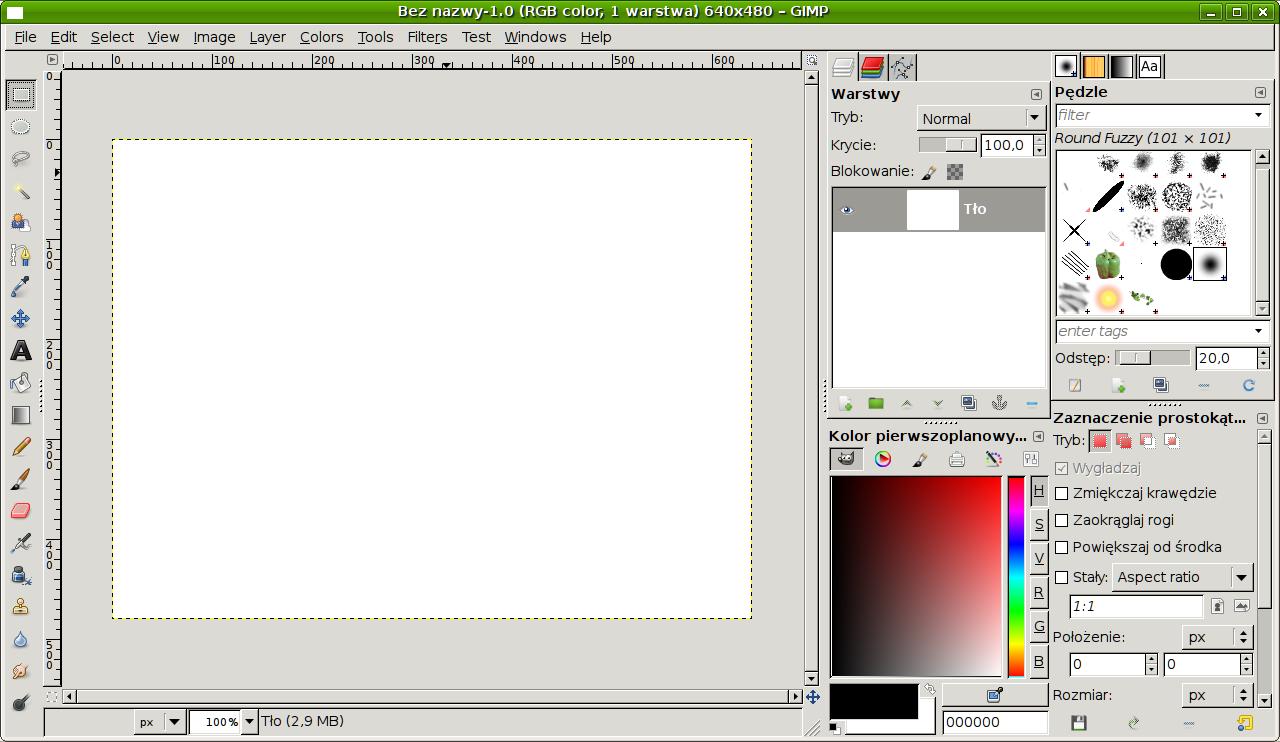 GIMP 2.7 interfejs jedno okienkowy