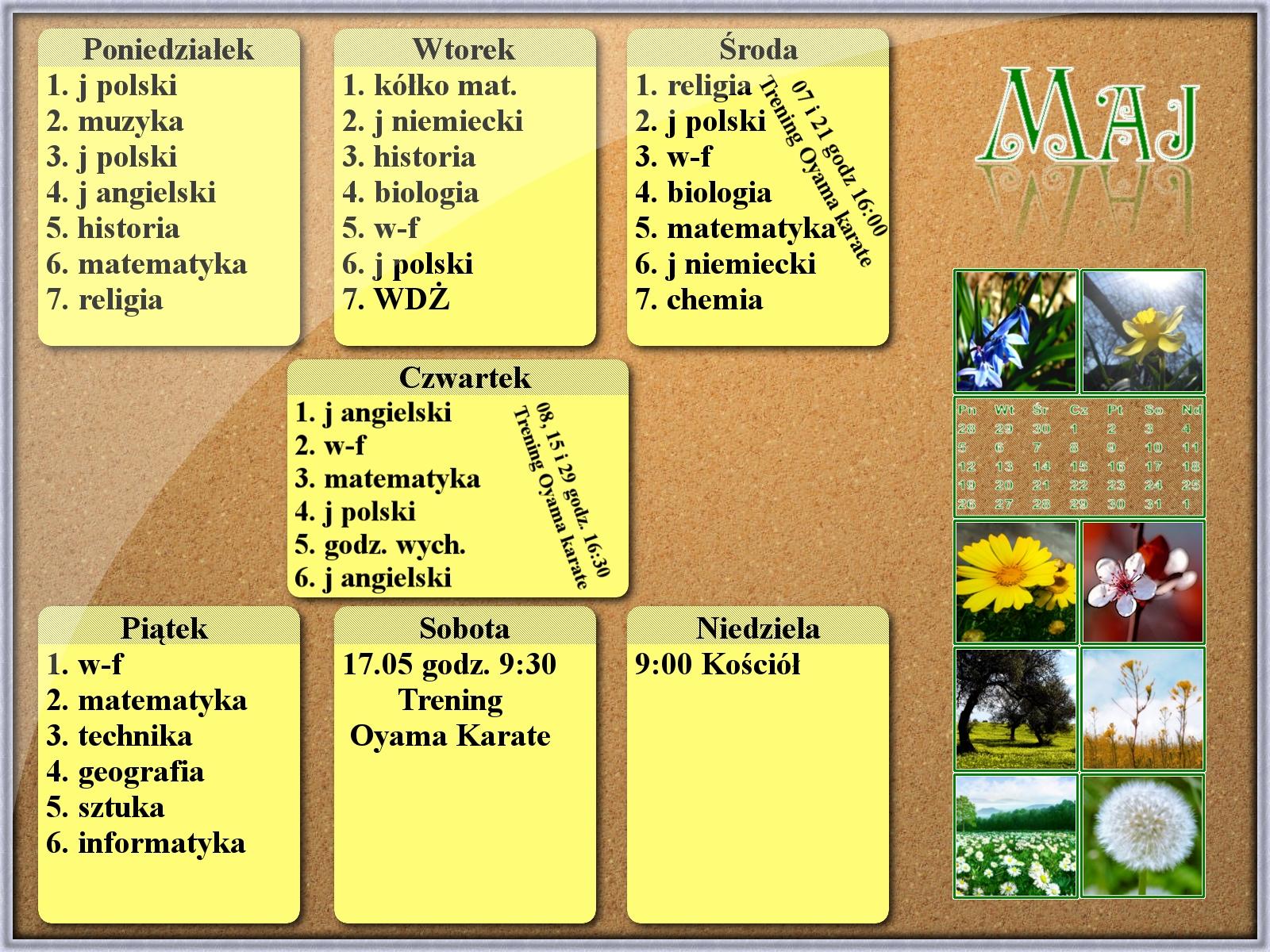 Kalendarz na Maj 2008