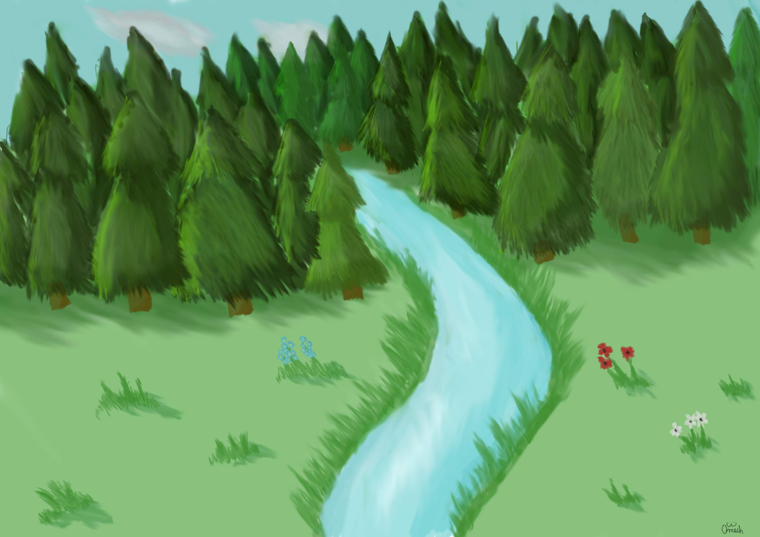 Las i rzeka