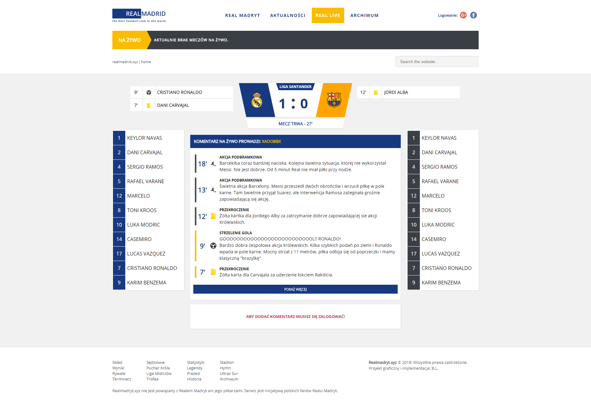 Real Madrid Fan Site - Match Centre
