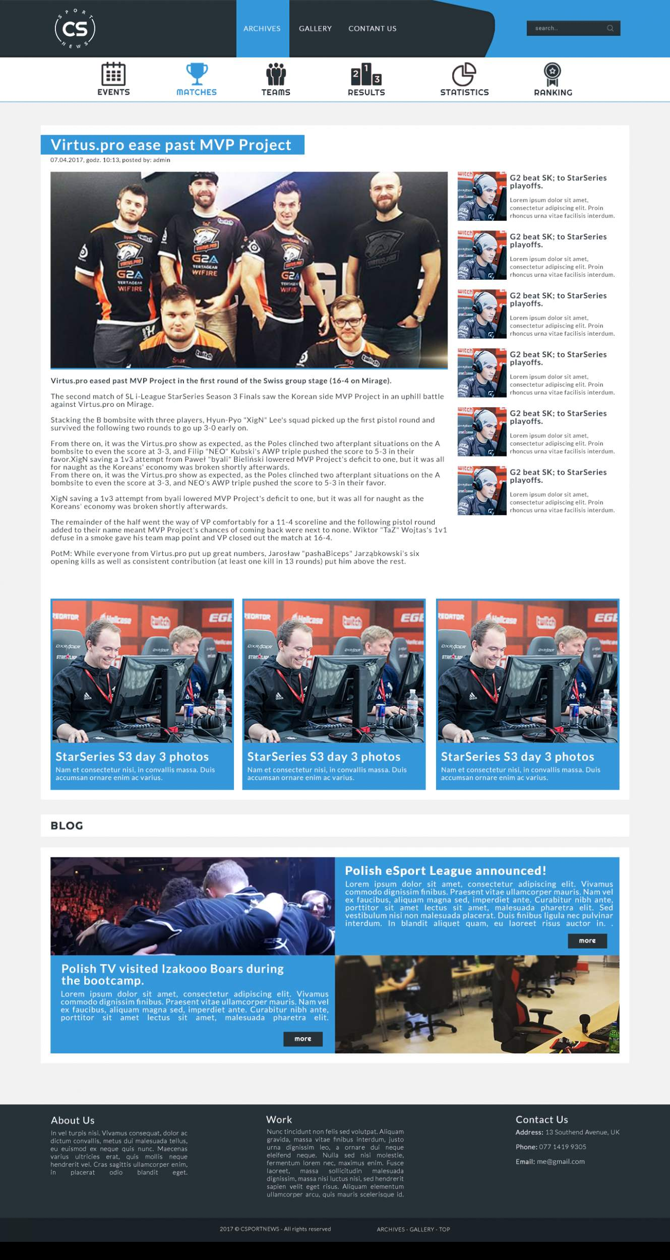 eSport Site - NewsPage